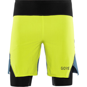 GORE WEAR R7 2en1 Shorts Hombre, citrus green/deep water blue
